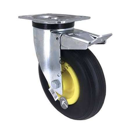 Braked swivel castor with puncture-proof wheel of 200 mm diameter.