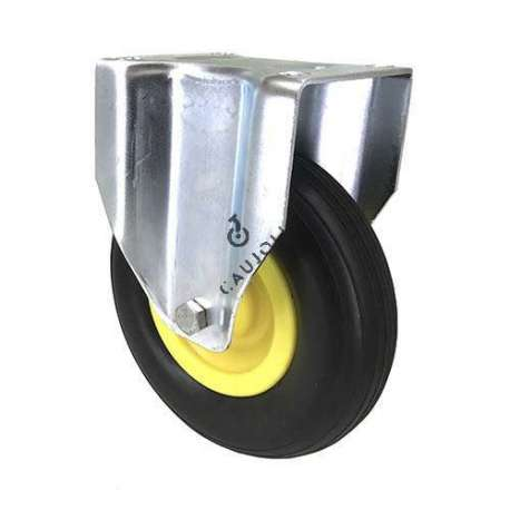 Fixed castor with puncture-proof tyre of 200 mm diameter