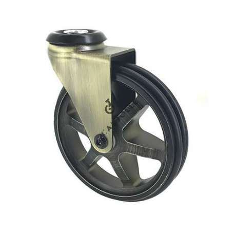 Castor wheel with golden finish in traditional style with attachment and eye 100 mm diameter