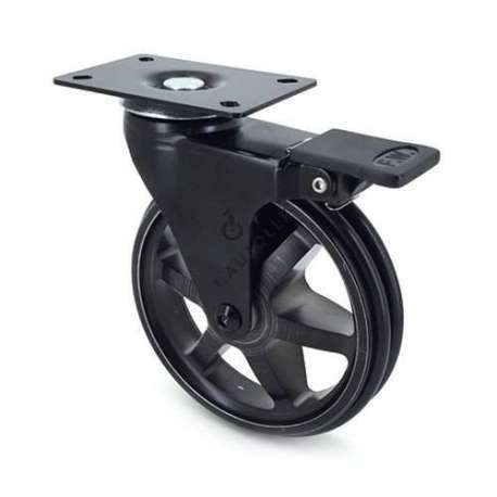 Black, swivel, designer castor wheel with brake, in die-cast aluminium 125 mm diameter.