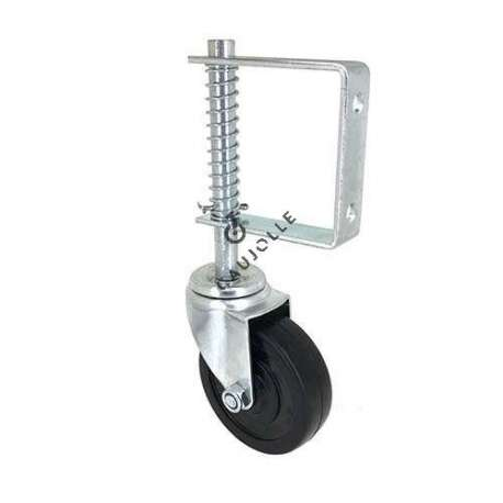 Door castor wheel with spring suspension 100 mm diameter. Perfect to bear some of the weight of your door.