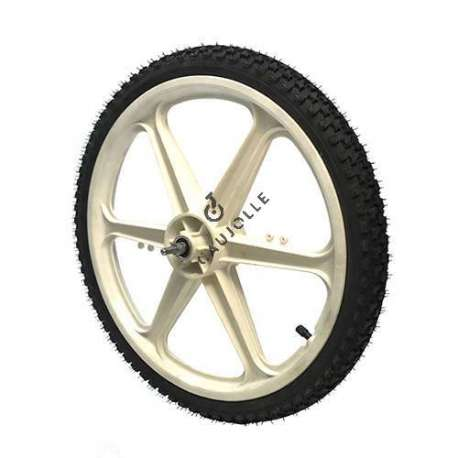 Pneumatic wheel with 20 inch white polypropylene rim for a bike trailer
