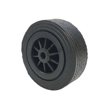 Wide rubber wheel with plastic rim diameter 250 mm and 25 mm hub with roller bearings