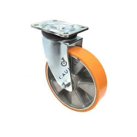 Industrial castor wheel with brake in polyurethane by excellence! 200 mm diameter and 800 kg load.