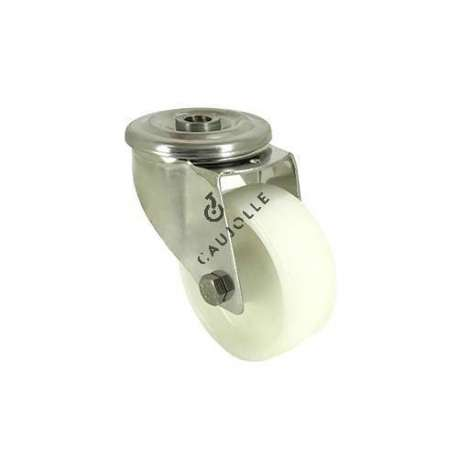 Swivel castor wheel STAINLESS STEEL 80 mm diameter nylon for the food industry.