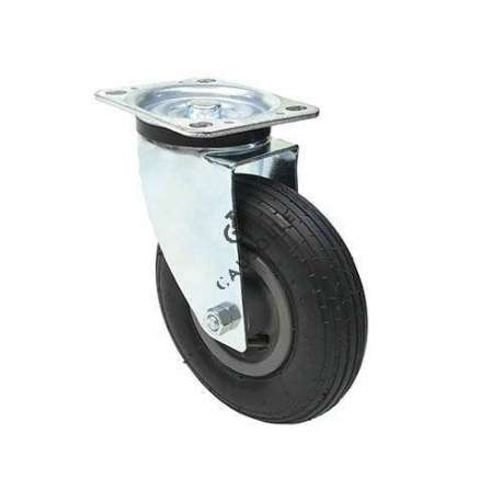 Swivel castor with 200 mm diameter black pneumatic tyre wheel.