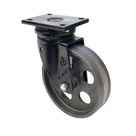 Cast iron wheel with pivoting plate without brake, diameter of 200 mm.