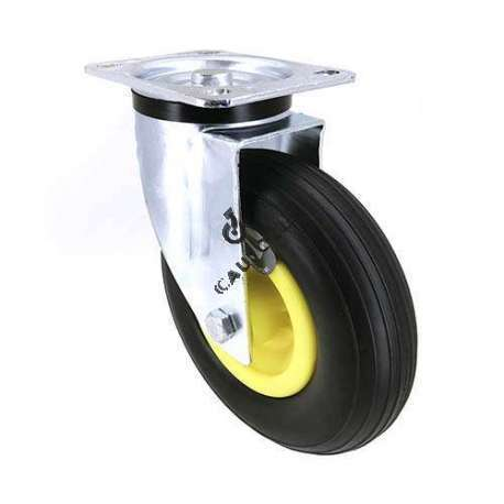 Swivel castor with puncture-proof tyre, diameter 200mm.
