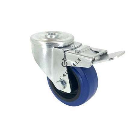Blue rubber castor wheel swivel, high resistance to wear and tear. 80 mm diameter