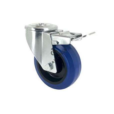Blue rubber castor wheel swivel, high resistance to wear and tear. 100 mm diameter