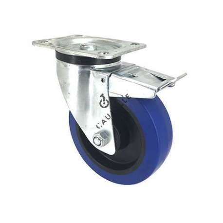 Blue rubber castor wheel swivel, high resistance to wear and tear. 160 mm diameter