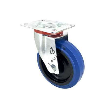 Blue rubber castor wheel swivel, high resistance to wear and tear. 125 mm diameter