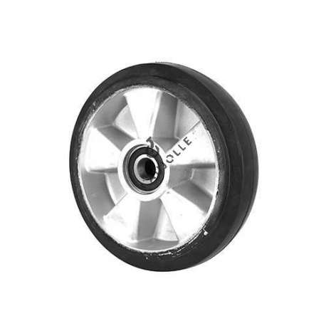 Wheel with a shock-absorber effect for a pallet truck diameter 200 mm with 20 mm ball-bearing.