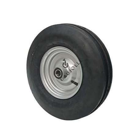 Four-ply reinforced and inflated wheel with three bands, diameter of 400 mm