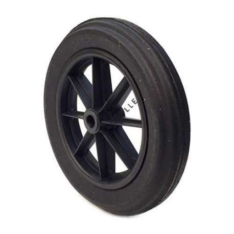 Puncture-proof rubber wheelbarrow wheel 400mm diameter. Smooth bore measuring 74mm long and 25mm diameter.