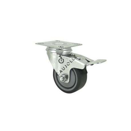Castor wheel on swivel mounting plate with brake, galvanised chromate pressed steel housing. Swivel action on two collars of ball bearings. The roller tyre is in non-marking rubber, low profile and with threadguard. Industrial usage possible on smooth and hard floors. Roller Ø50 mm.