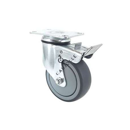 Industrial castor wheel with plate and brake in non-marking rubber 100 mm diameter