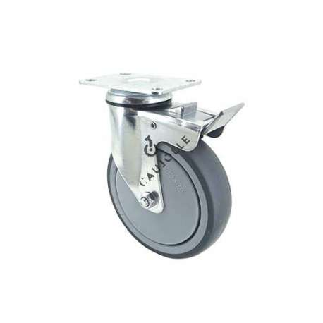 Industrial castor wheel with plate and brake in non-marking rubber 125 mm diameter