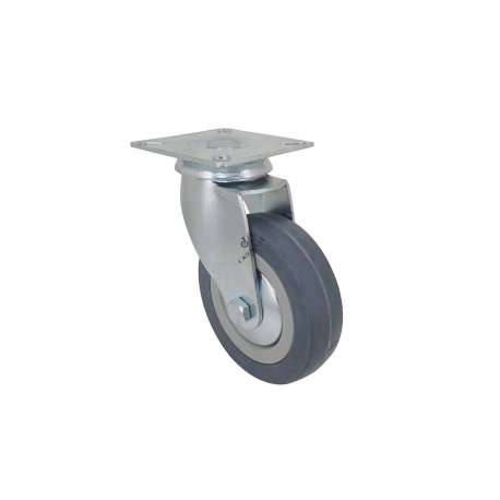 Castor wheel on swivel mounting plate, galvanised chromate pressed steel housing. Swivel action on two collars of ball bearings. The roller tyre is in non-marking rubber, low profile and with threadguard. Industrial usage possible on smooth and hard floors. Roller Ø100 mm.