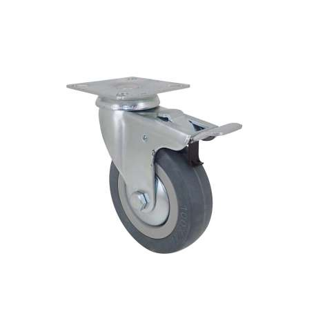 Castor wheel on swivel mounting plate with brake, galvanised chromate pressed steel housing. Swivel action on two collars of ball bearings. The roller tyre is in non-marking rubber, low profile and with threadguard. Industrial usage possible on smooth and hard floors. Roller Ø100 mm.