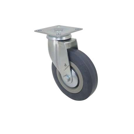 Castor wheel on swivel mounting plate, galvanised chromate pressed steel housing. Swivel action on two collars of ball bearings. The roller tyre is in non-marking rubber, low profile and with threadguard. Industrial usage possible on smooth and hard floors. Roller Ø125 mm.
