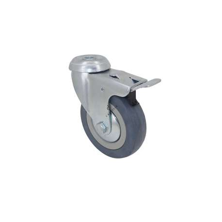 Castor wheel on swivel mounting eye with brake, galvanised chromate pressed steel housing. Swivel action on two collars of ball bearings. The roller tyre is in non-marking rubber, low profile and with threadguard. Industrial usage possible on smooth and hard floors. Roller Ø100 mm.