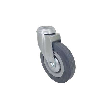 Castor wheel on swivel mounting eye, galvanised chromate pressed steel housing. Swivel action on two collars of ball bearings. The roller tyre is in non-marking rubber, low profile and with threadguard. Industrial usage possible on smooth and hard floors. Roller Ø125 mm.