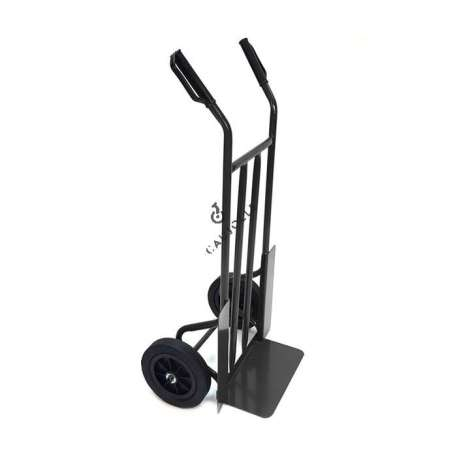 Classic fixed toe sack truck, 2 wheels with solid rubber tyres, diameter 260 mm.